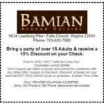 Bring a party of over 15 Adults & receive a 10% Discount on your Check.